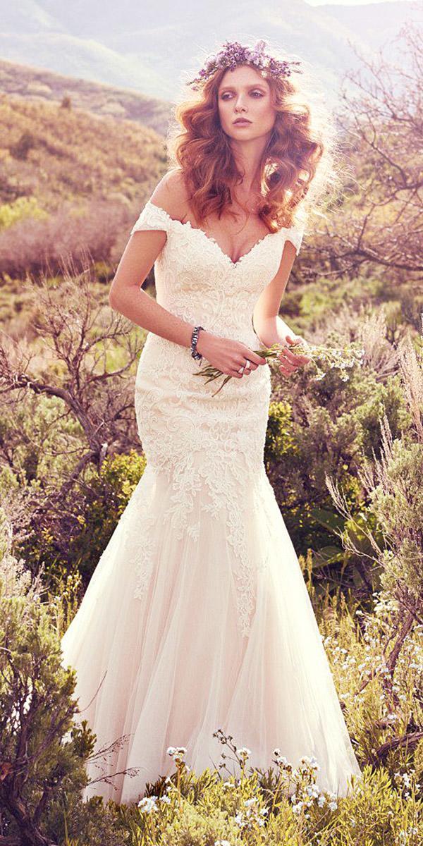 maggie sottero wedding dresses 2017 mermaid off the shoulder lace embellishment