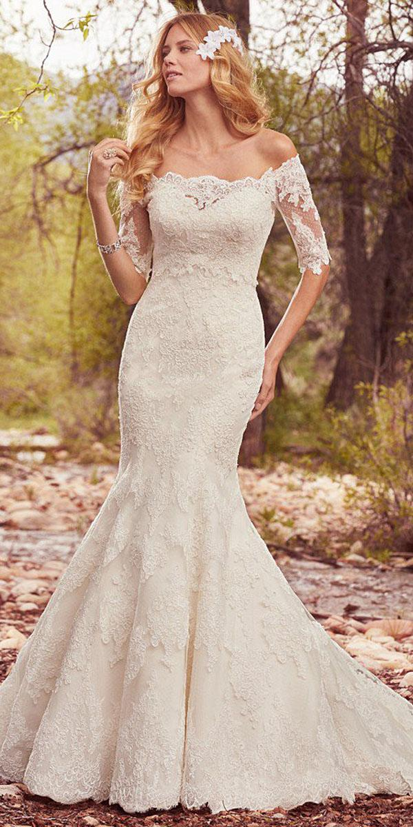 maggie sottero wedding dresses 2017 mermaid with three quaters sleeves full lace
