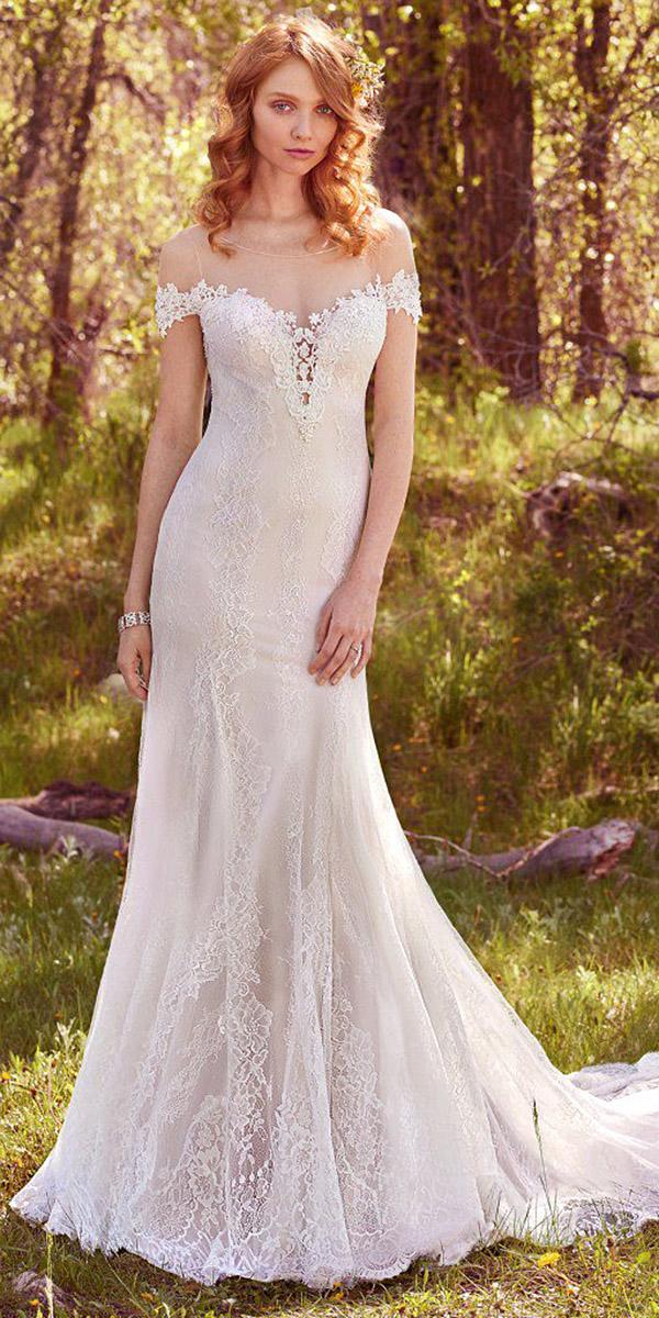 maggie sottero wedding dresses 2017 off the shoulder v neckline lace with train
