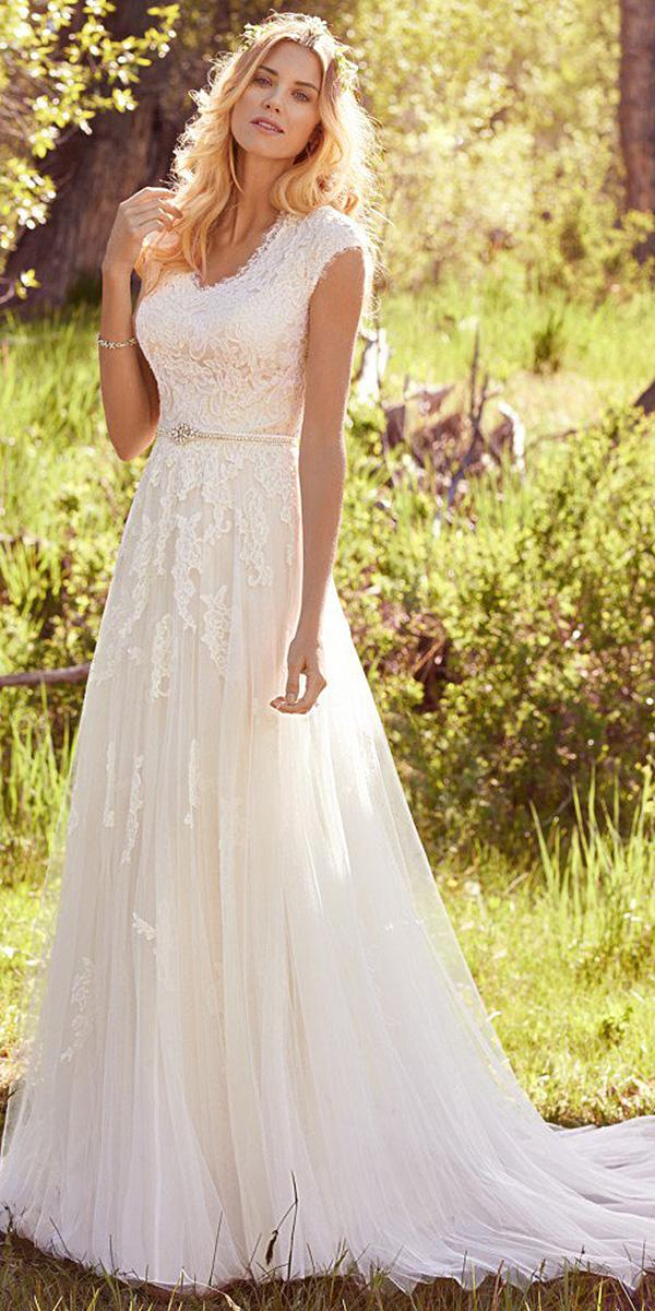 maggie sottero wedding dresses 2017 sheath with cap sleeves floral lace
