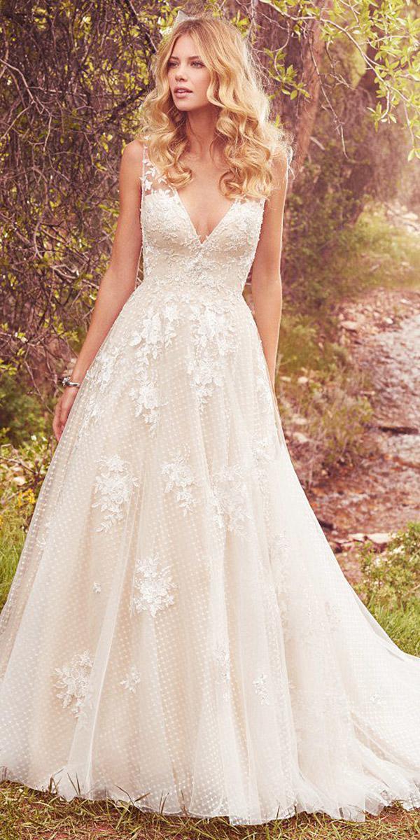 maggie sottero wedding dresses a line dep v neckline floral appliques