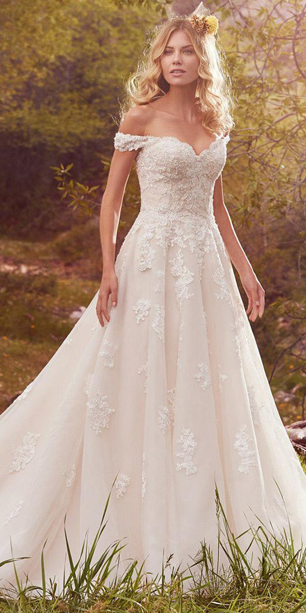 maggie sottero wedding dresses a line off the shoulder sweetheart lace 2017