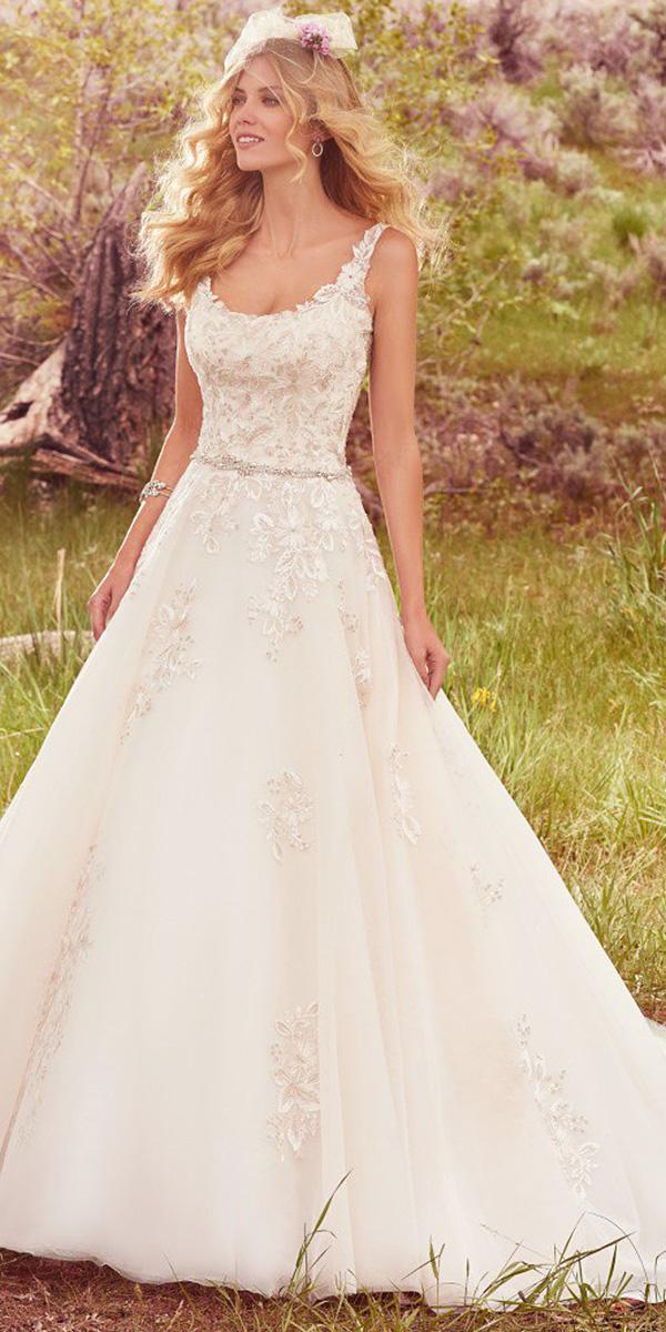 maggie sottero wedding dresses a line square floral embellishment beaded 2017