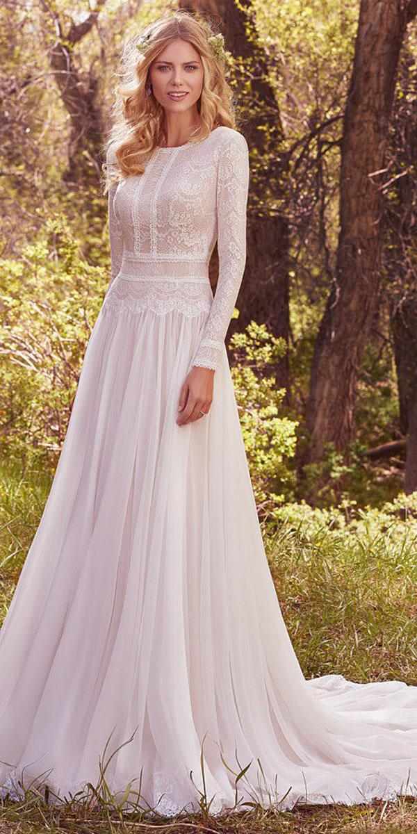 maggie sottero wedding dresses a line with long sleeves lace top with train 2017