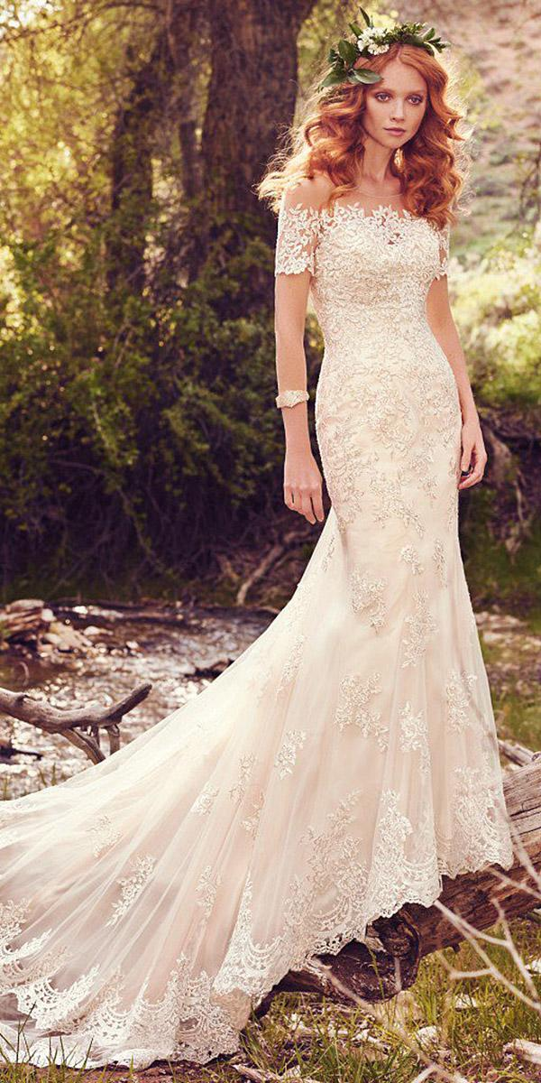 maggie sottero wedding dresses mermaid with sleeves lace floral embellishment