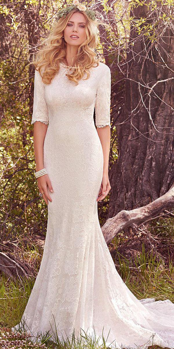 maggie sottero wedding dresses mermaid with three quaters sleeeves lace with train 2017