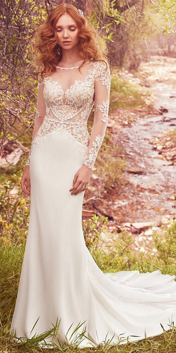 maggie sottero wedding dresses sheath with illusion lace sleeves 2017