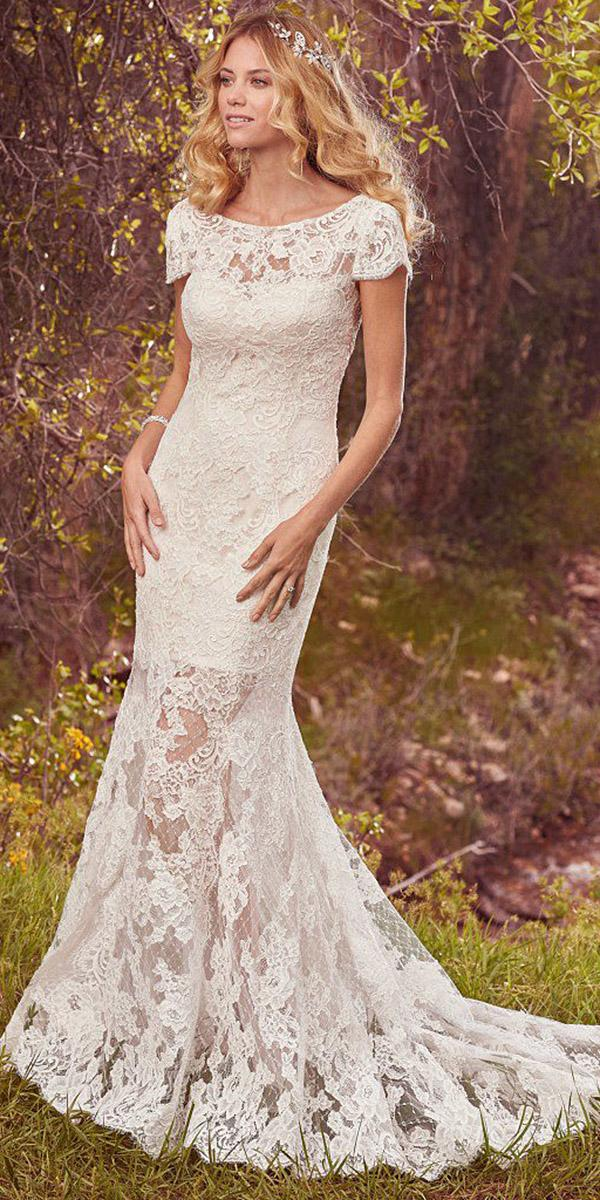 maggie sottero wedding dresses with cap sleeves boatneck full lace 2017