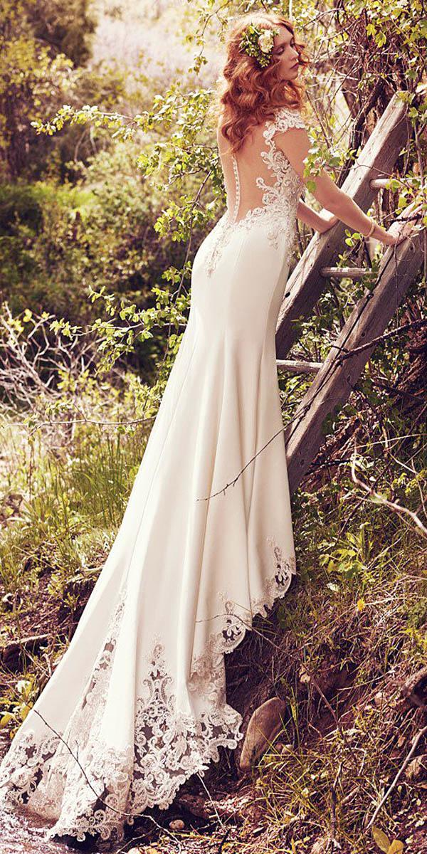 maggie sottero wedding dresses with cap sleeves illusion backless full lace 2017