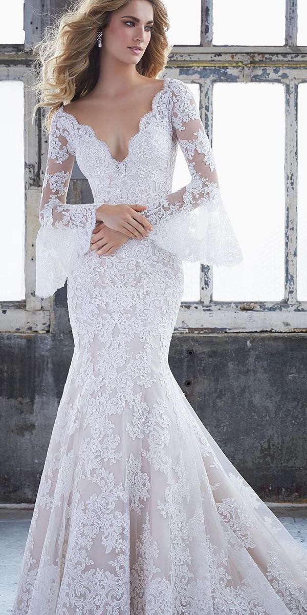 mermaid wedding dresses with long sleeves lace mori lee