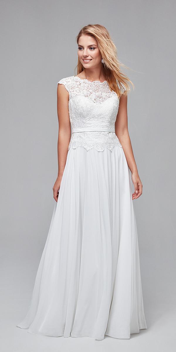 oleg cassini wedding dresses a line illusion neckline with cap sleeves lace