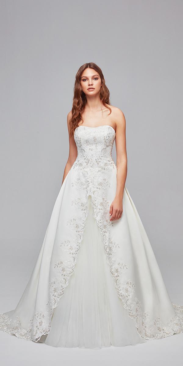 oleg cassini wedding dresses a line strapless modest floral cheap
