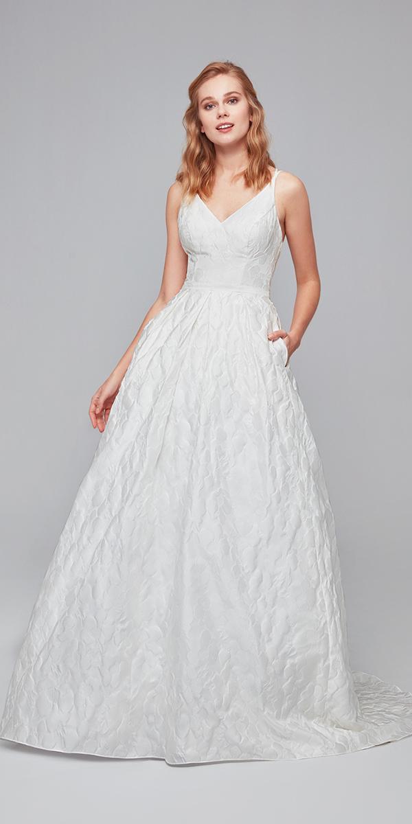oleg cassini wedding dresses a line v neckline simple elegant