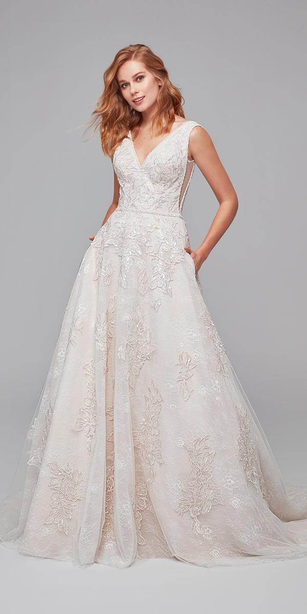 oleg cassini wedding dresses a line v neckline floral ivory cheap