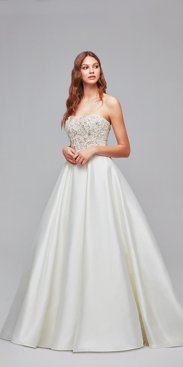 oleg cassini wedding dresses ball gown strapless beaded top satin skirt