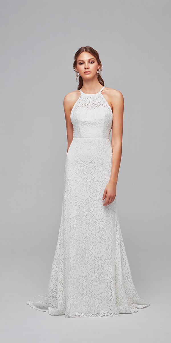 oleg cassini wedding dresses sheath halter neckline lace