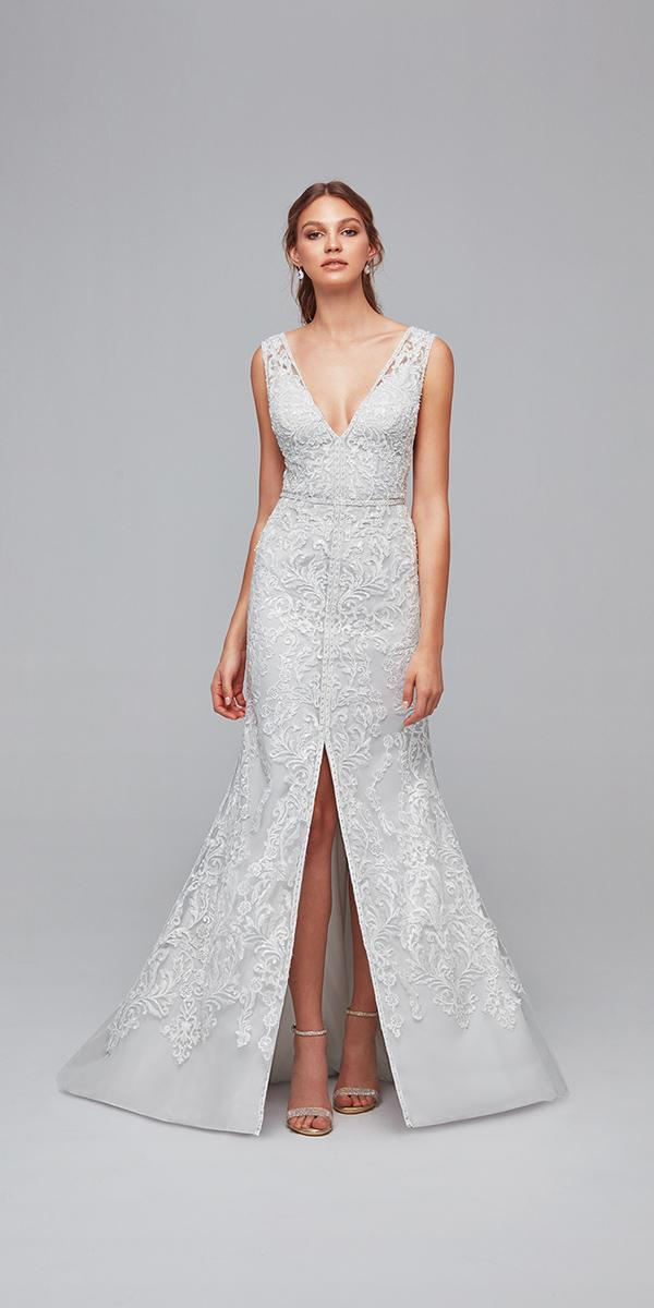 oleg cassini wedding dresses sheath v neckline slit lace cheap