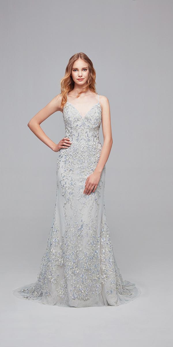 oleg cassini wedding dresses sheath with spaghetti straps colored cheap
