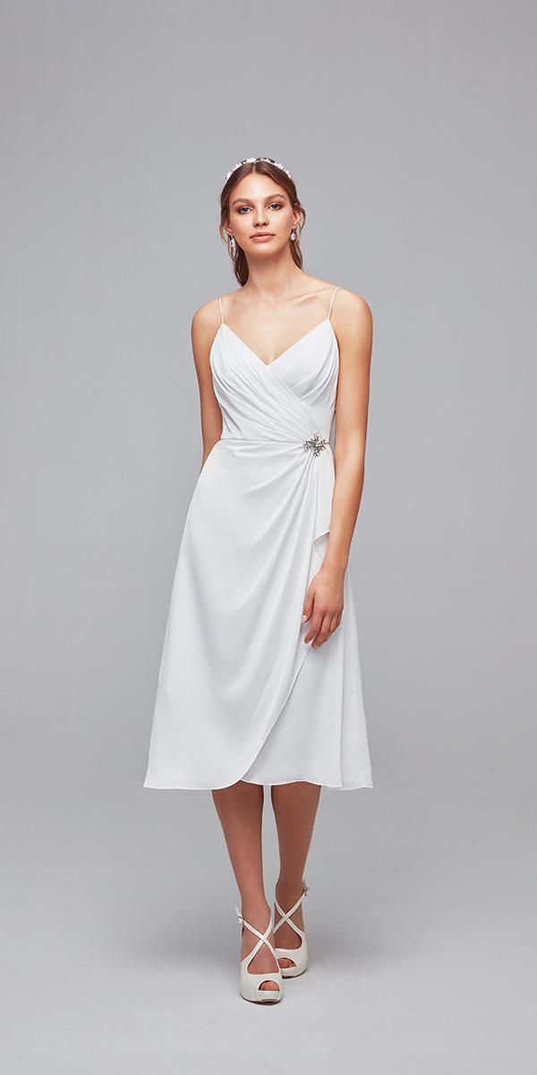 oleg cassini wedding dresses sheath with straps tea length simple
