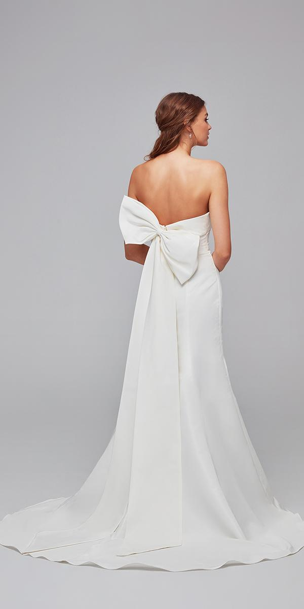 oleg cassini wedding dresses trumpet low back with bow simple cheap