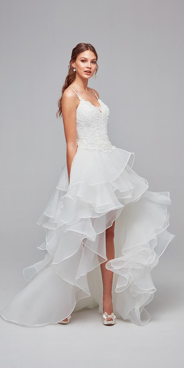 oleg cassini wedding dresses with straps ruffled skirt romantic cheap