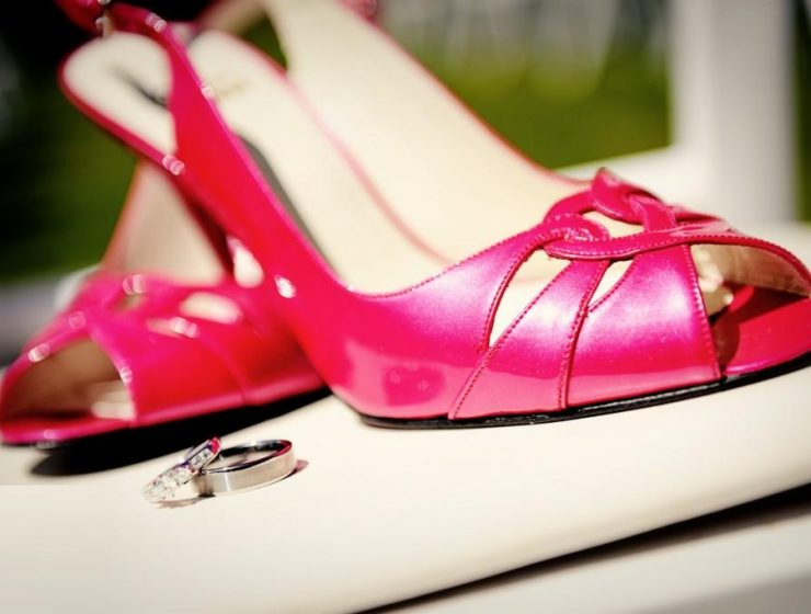 pink wedding shoes for bride