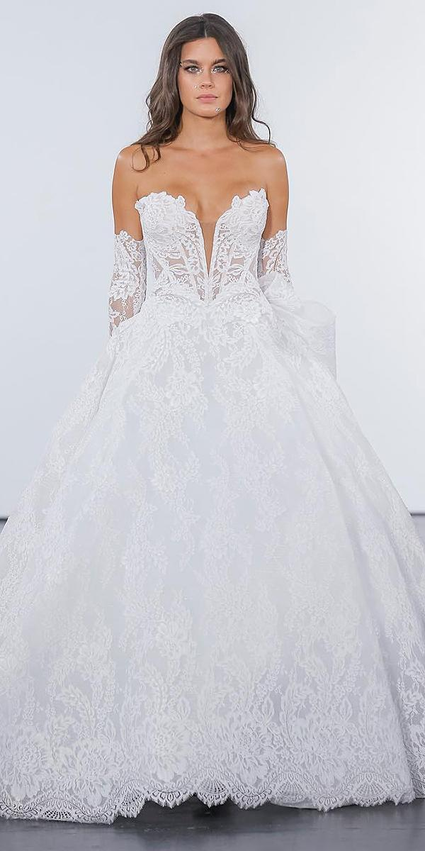 pnina tornai wedding dresses ball gown strapless detached sleeves lace real bride