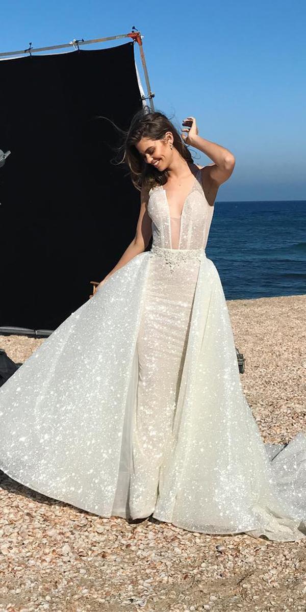 pnina tornai wedding dresses deep v neckline with overskirt ivory 2018