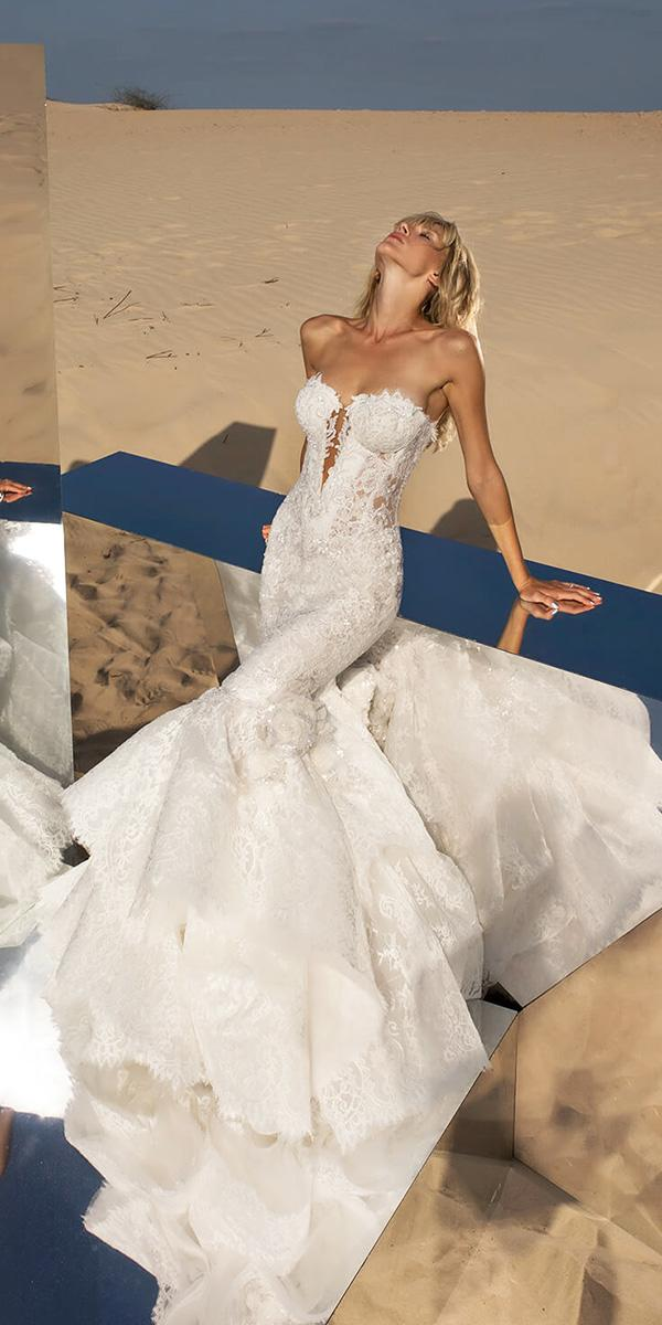 Pnina tornai wedding dresses mermaid deep v neckline for V neck strapless wedding dress