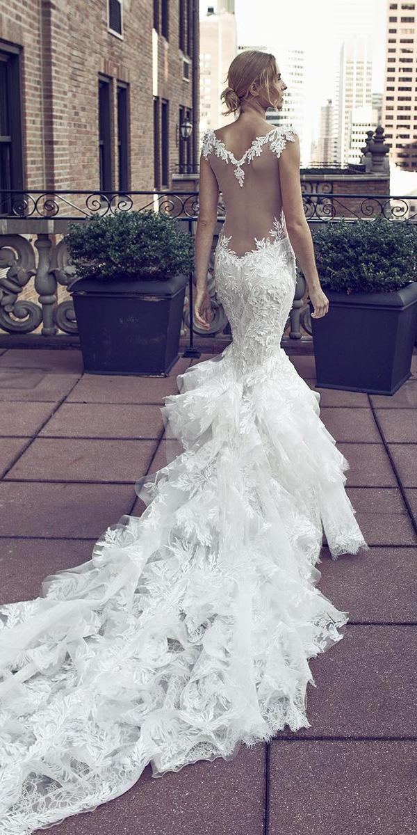 pnina tornai wedding dresses mermaid illusion neckline floral with train 2017