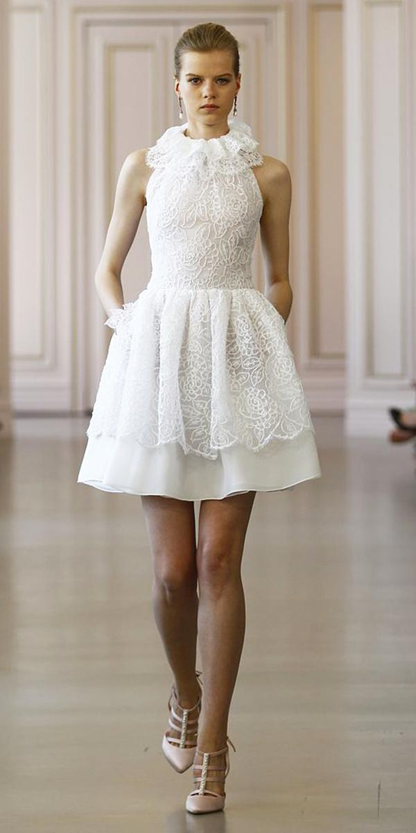 Short wedding dresses high neck lace white oscar de la for Oscar de la renta short wedding dress