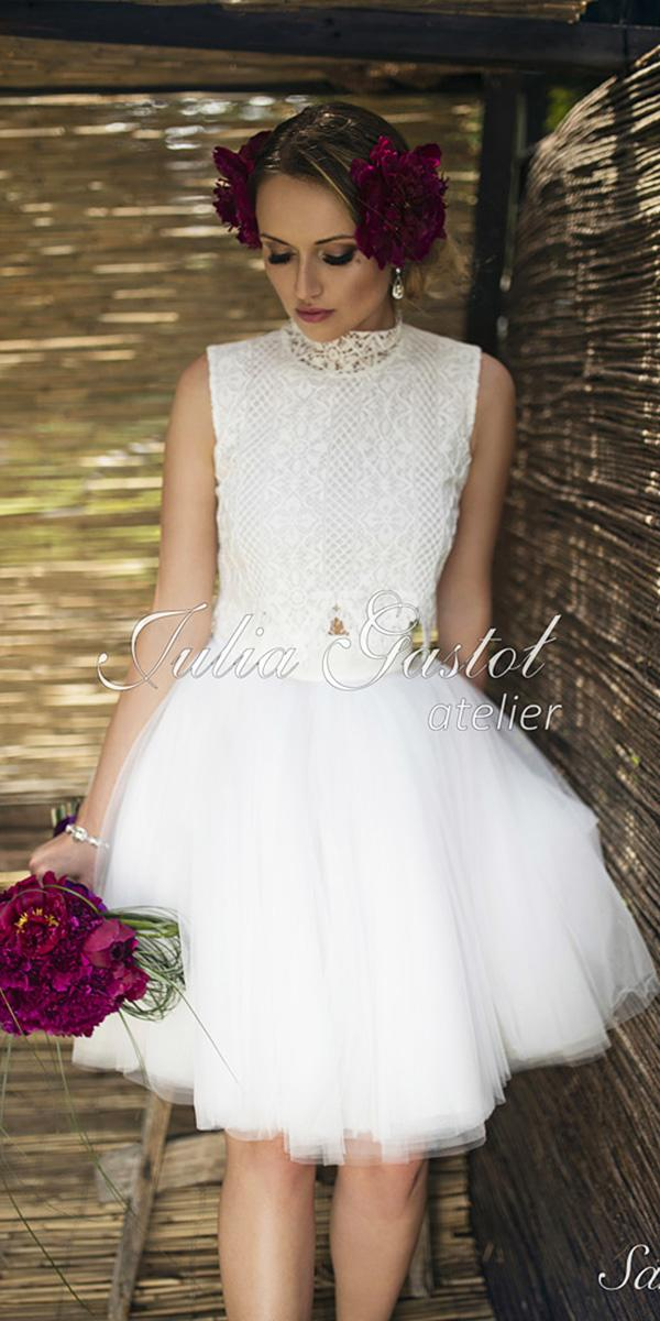 short wedding dresses high neck sleeveless tulle skirt white julia gastol