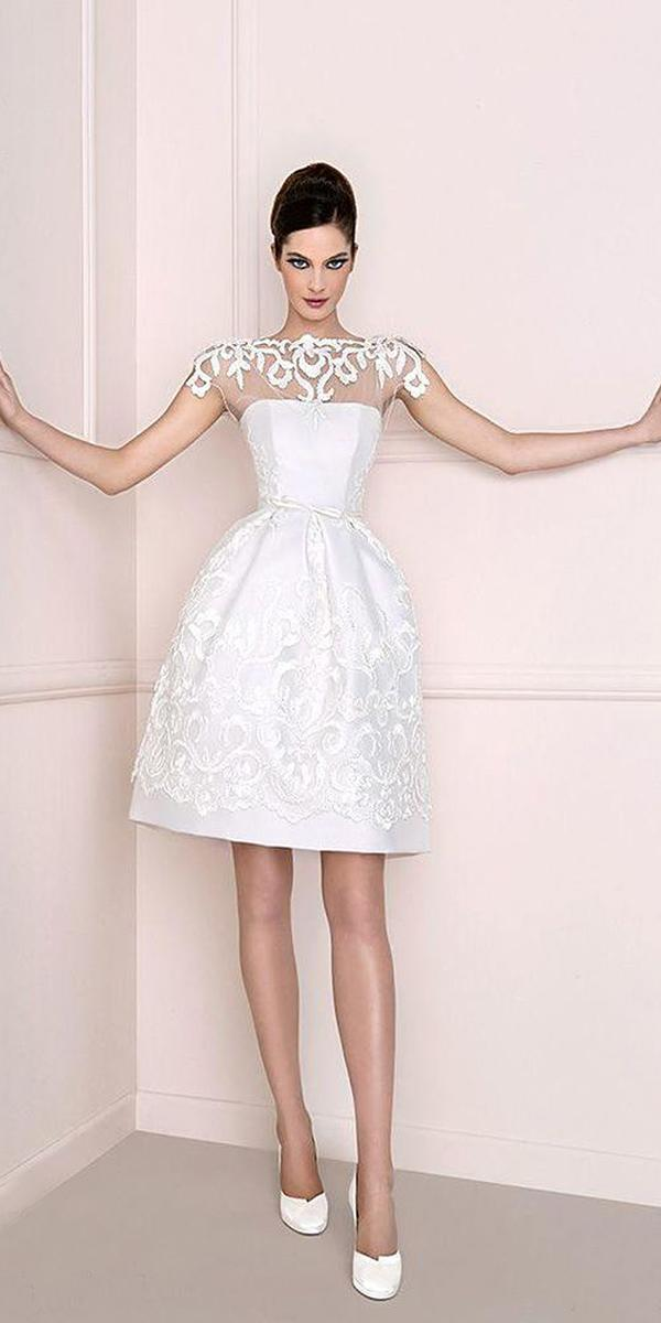 short wedding dresses illusion neckline with cap sleeves lace embellishment antonio riva design