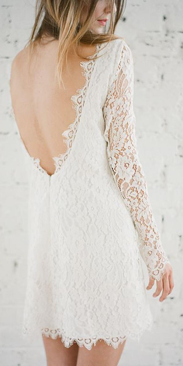 short wedding dresses v back with long sleeves lace beach rime arodaky