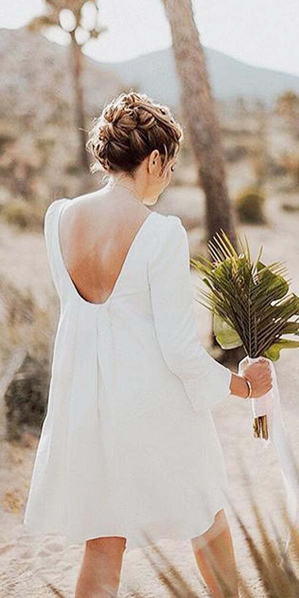 short wedding dresses v back with long sleeves simple laure de sagazan