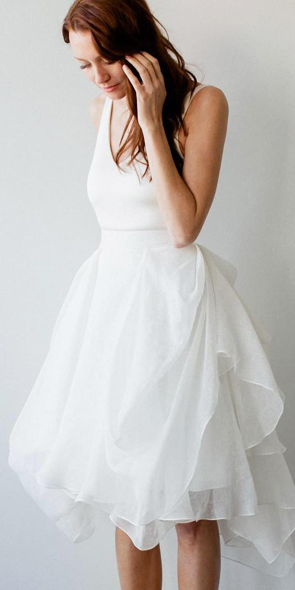 short wedding dresses v neckline ruffled skirt simple carol hannah bridal