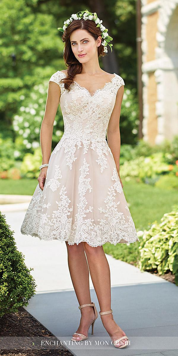 short wedding dresses v neckline with cap sleeves ivory lace mon cheri
