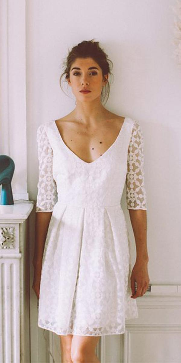 short wedding dresses v neckline with three quote sleeves beach anne morin