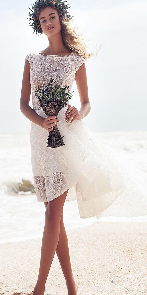 short wedding dresses with cap sleeves full lace beach mary trufel