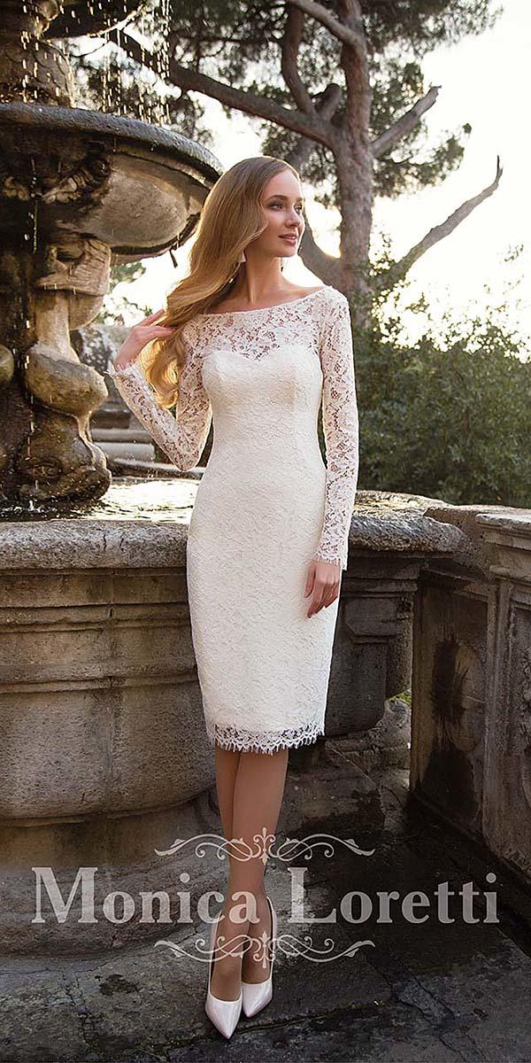 short wedding dresses with long sleeves full lace 2018 monica loretti