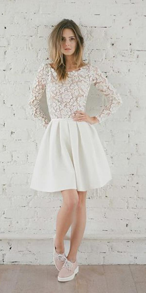 short wedding dresses with long sleeves lace top rime arodaky