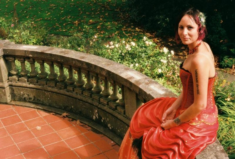 sitting orange wedding dress