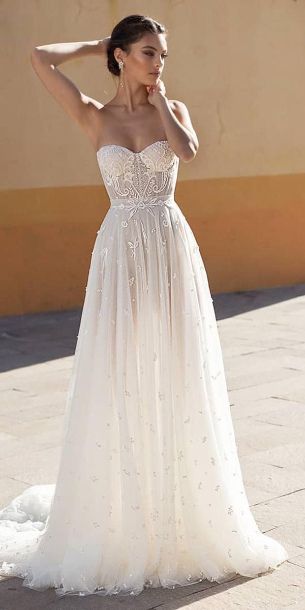 strapless wedding dresses a line sweetheart lace beach sexy gali karten