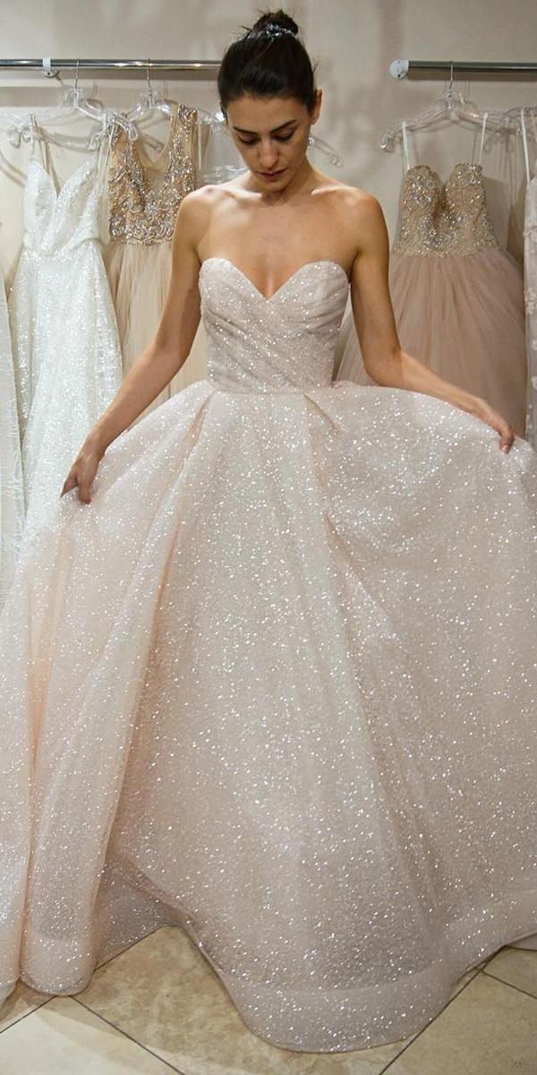 blush sequins princess strapless sweetheart wedding dresses lazaro bridal