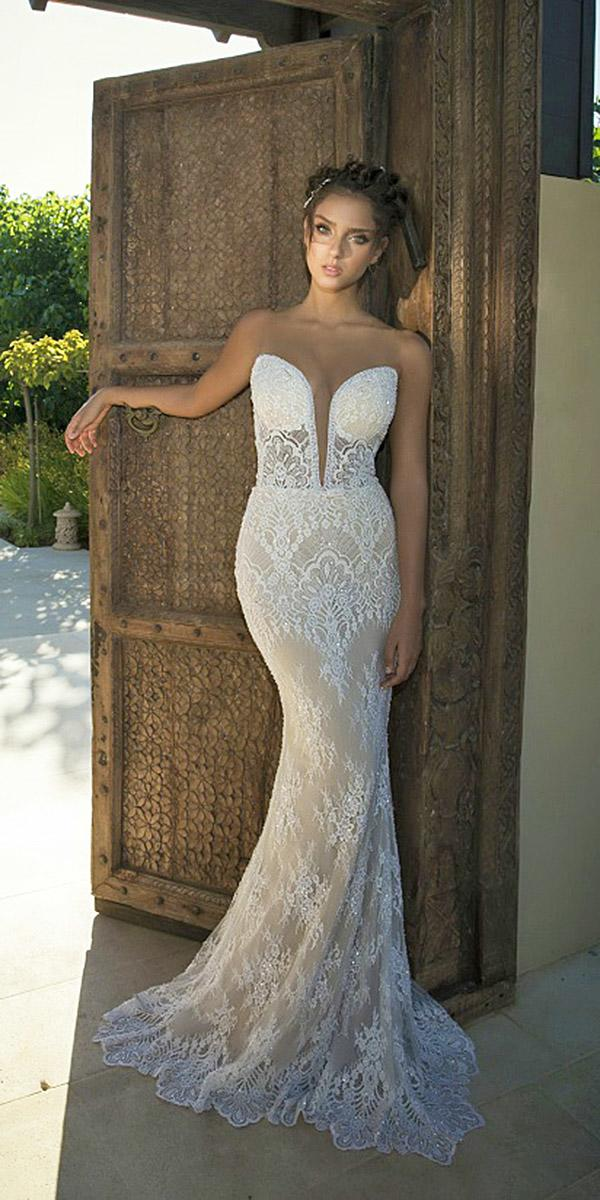 strapless wedding dresses deep v neckline lace beach champagne oved cohen