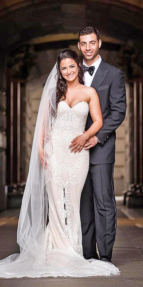 strapless wedding dresses sheath lace with slit victor harper couture