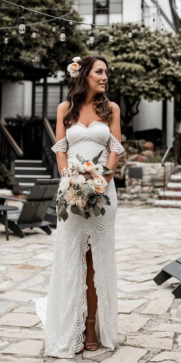 strapless wedding dresses sheath off the shoulder lace beach boho grace loves lace