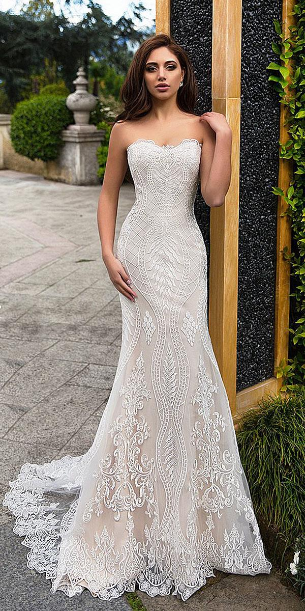 Strapless Wedding Dresses Trumpet Full Lace Sexy Ivory Lussano
