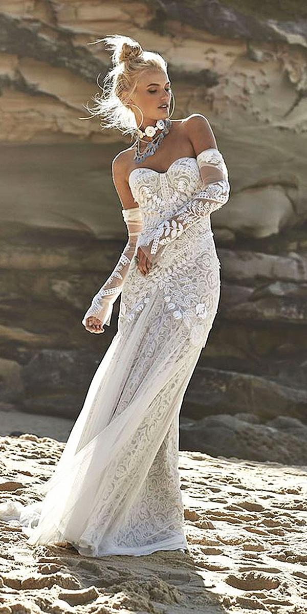 strapless wedding dresses with detached sleeves lace boho beach moonlight