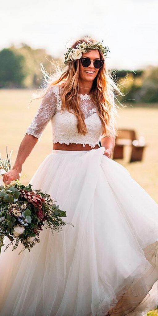 western wedding dresses country ball gown separates illusion lace sleeves by lillian west